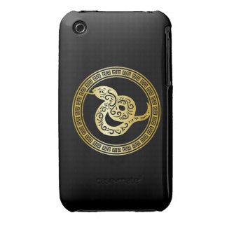 Golden Zodiac Snake on Black with Frame Case-Mate iPhone 3 Case