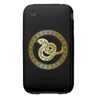 Golden Zodiac Snake on Black with Frame Tough iPhone 3 Cover