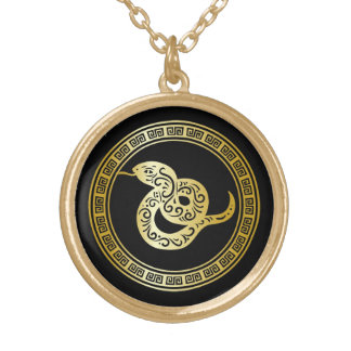 Golden Zodiac Snake on Black with Frame Gold Plated Necklace