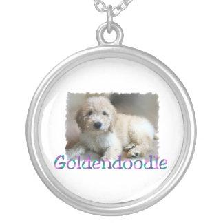 Goldendoodle Art Round Pendant Necklace