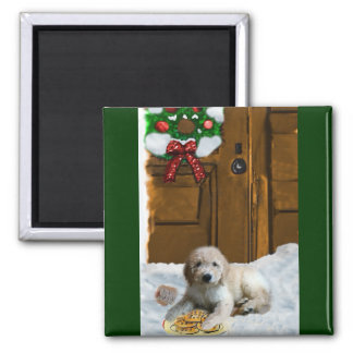 Goldendoodle Christmas Gifts 2 Inch Square Magnet