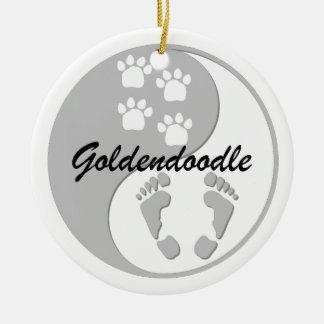 goldendoodle adorno redondo de cerámica