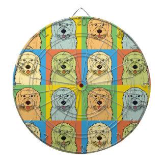 Goldendoodle Dog Cartoon Pop-Art Dartboard