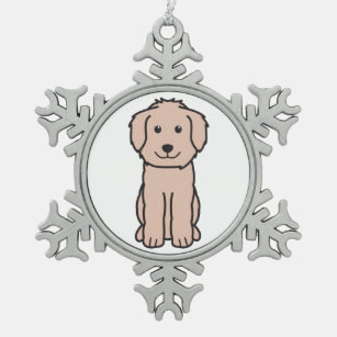 goldendoodle dog cartoon snowflake pewter christmas ornament
