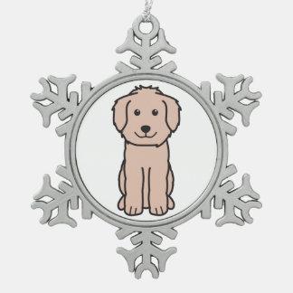Goldendoodle Dog Cartoon Snowflake Pewter Christmas Ornament