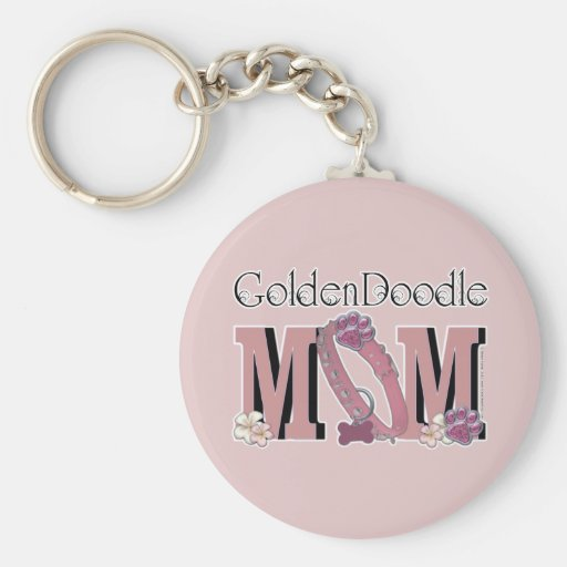 GoldenDoodle MOM Basic Round Button Keychain