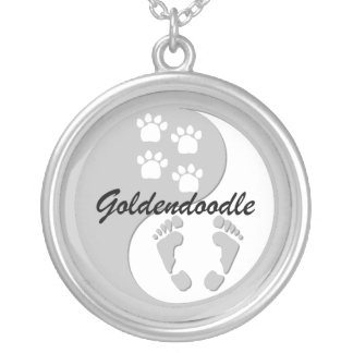 goldendoodle silver plated necklace