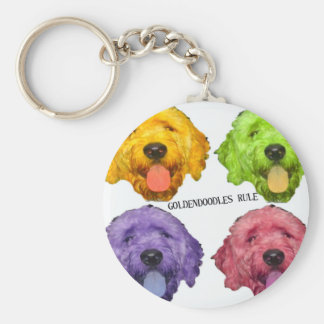Goldendoodles Rule 4 color Basic Round Button Keychain