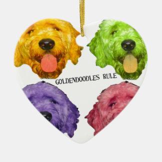 Goldendoodles Rule 4 color Ceramic Ornament