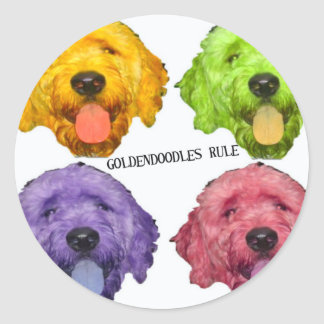 Goldendoodles Rule 4 color Classic Round Sticker