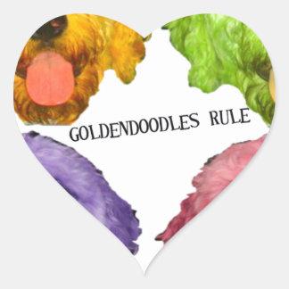 Goldendoodles Rule 4 color Heart Sticker
