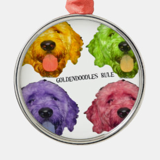 Goldendoodles Rule 4 color Metal Ornament