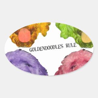 Goldendoodles Rule 4 color Oval Sticker