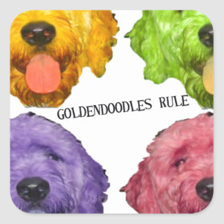 Goldendoodles Rule 4 color Square Sticker