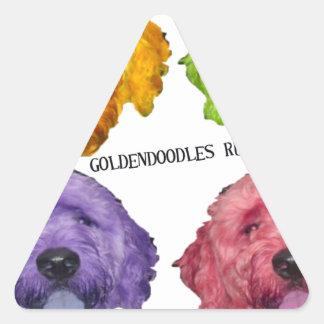 Goldendoodles Rule 4 color Triangle Sticker
