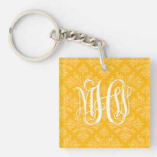 Goldenrod 2 Tone Damask #3 Vine Script Monogram Keychain