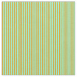[ Thumbnail: Goldenrod and Aquamarine Colored Striped Pattern Fabric ]