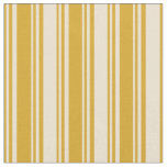 [ Thumbnail: Goldenrod and Beige Lines Pattern Fabric ]
