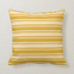 [ Thumbnail: Goldenrod and Beige Lines Pattern Throw Pillow ]