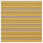 [ Thumbnail: Goldenrod and Blue Stripes Pattern Fabric ]