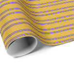 [ Thumbnail: Goldenrod and Blue Stripes Pattern Wrapping Paper ]