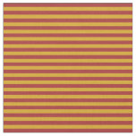 [ Thumbnail: Goldenrod and Brown Pattern of Stripes Fabric ]