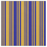 [ Thumbnail: Goldenrod and Dark Blue Stripes/Lines Pattern Fabric ]