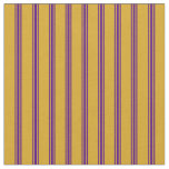 [ Thumbnail: Goldenrod and Indigo Colored Stripes Fabric ]
