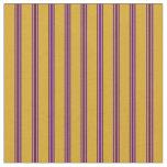 [ Thumbnail: Goldenrod and Indigo Colored Stripes Fabric ]