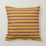 [ Thumbnail: Goldenrod and Indigo Colored Stripes Throw Pillow ]
