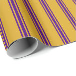 [ Thumbnail: Goldenrod and Indigo Colored Stripes Wrapping Paper ]