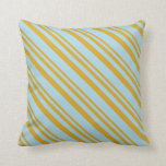 [ Thumbnail: Goldenrod and Light Blue Colored Pattern Pillow ]
