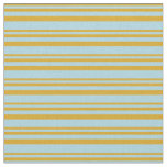 [ Thumbnail: Goldenrod and Light Blue Colored Stripes Pattern Fabric ]