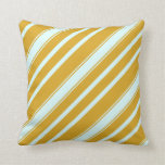 [ Thumbnail: Goldenrod and Light Cyan Stripes Throw Pillow ]