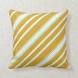 [ Thumbnail: Goldenrod and Light Cyan Stripes Throw Pillow ]