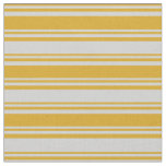[ Thumbnail: Goldenrod and Light Grey Colored Stripes Fabric ]