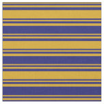 [ Thumbnail: Goldenrod and Midnight Blue Striped/Lined Pattern Fabric ]