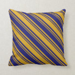 [ Thumbnail: Goldenrod and Midnight Blue Striped/Lined Pattern Throw Pillow ]