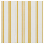 [ Thumbnail: Goldenrod and Mint Cream Lines Fabric ]