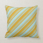 [ Thumbnail: Goldenrod and Powder Blue Pattern Throw Pillow ]