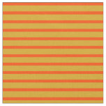 [ Thumbnail: Goldenrod and Red Colored Stripes/Lines Pattern Fabric ]