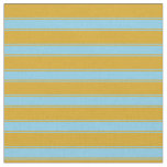 [ Thumbnail: Goldenrod and Sky Blue Colored Stripes Pattern Fabric ]