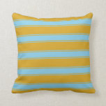 [ Thumbnail: Goldenrod and Sky Blue Colored Stripes Pattern Throw Pillow ]