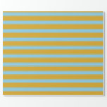 [ Thumbnail: Goldenrod and Sky Blue Colored Stripes Pattern Wrapping Paper ]