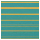 [ Thumbnail: Goldenrod and Teal Stripes Pattern Fabric ]