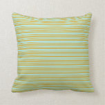 [ Thumbnail: Goldenrod and Turquoise Colored Stripes Pillow ]