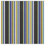 [ Thumbnail: Goldenrod, Aquamarine, Blue, Mint Cream & Black Fabric ]