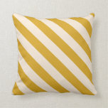 [ Thumbnail: Goldenrod & Beige Colored Lines Throw Pillow ]