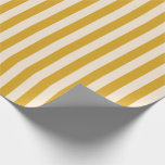 [ Thumbnail: Goldenrod & Beige Colored Lines Wrapping Paper ]