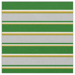 [ Thumbnail: Goldenrod, Beige, Dark Green, Grey & Green Lines Fabric ]